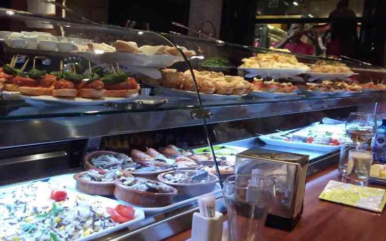 Tapas selection at a bar in Santiago de Compostela