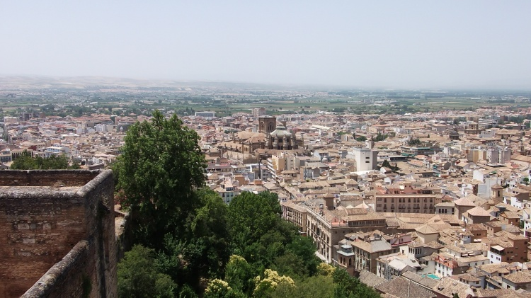 Granada city viewed from the Alhambra Palace