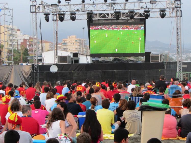 Huge TV screen on the beach