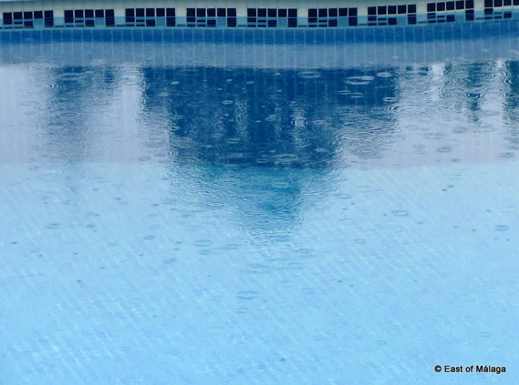 Raindrops on the pool surface