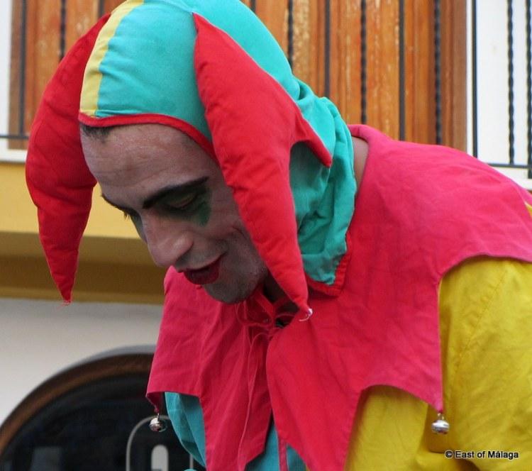 Jester at the medieval market in Torrox pueblo