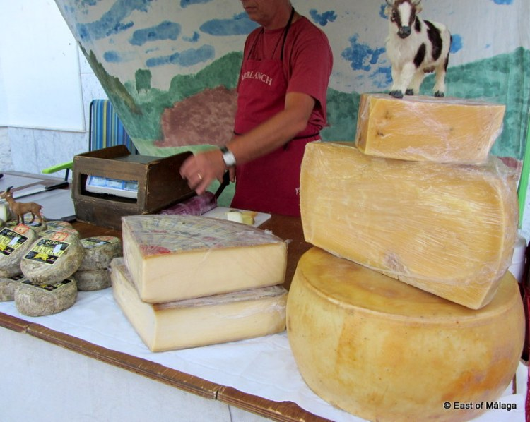 Cheeses for sale at the medieval market in Torrox pueblo