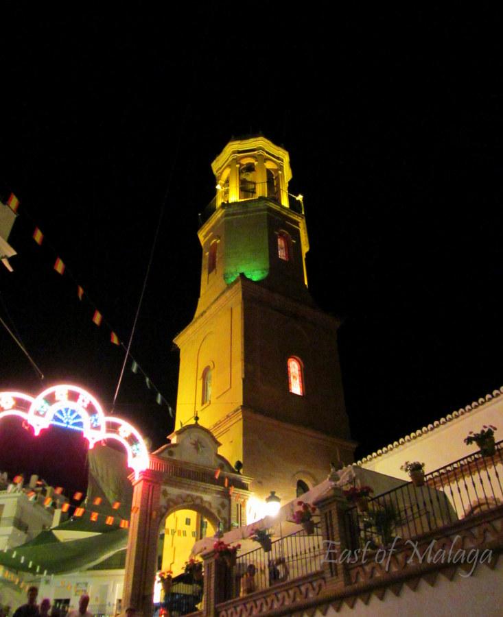 Competa village church, at night, during the Feria 2012