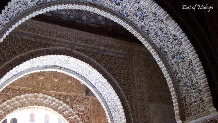 A series of Moorish arches inside the Alhambra Palace, Granada