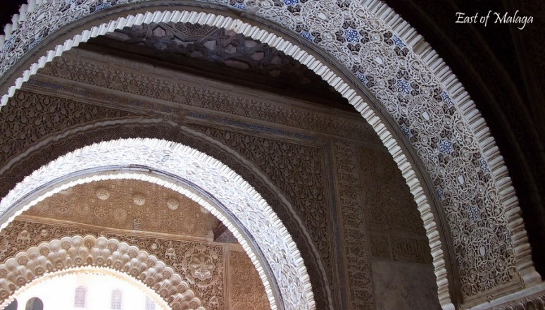 A series of Moorish arches inside the Alhambra Palace, Granada