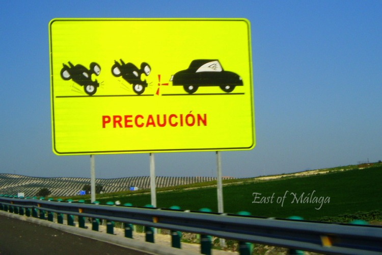 Warning sign on the road to Jerez for the Moto GP
