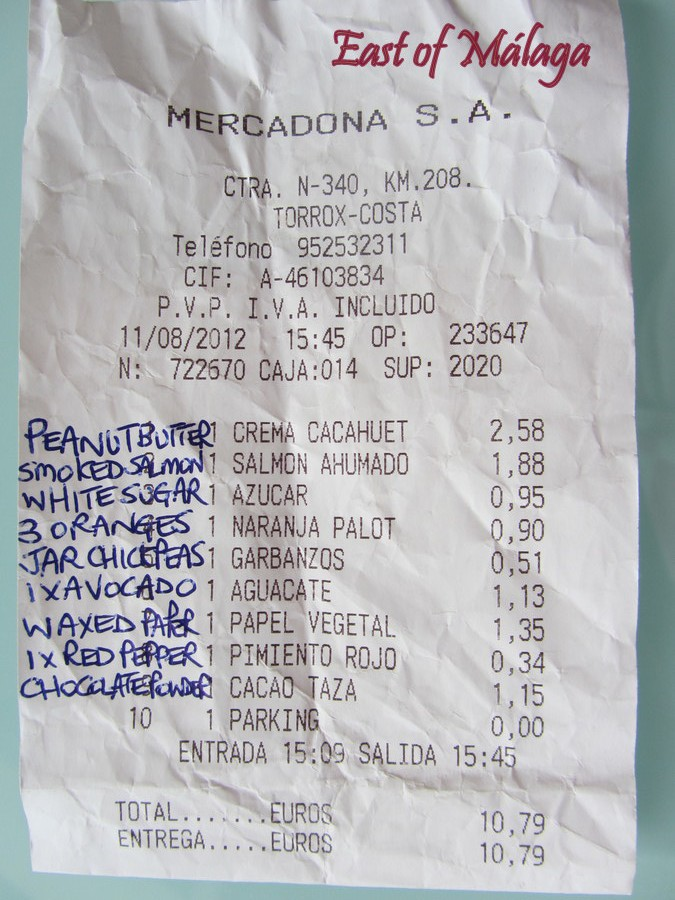 Mercadona supermarket receipt.   August 2012
