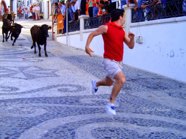 Bull run in Frigiliana, Spain