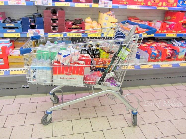 Shopping trolley in Lidl supermarket, Spain