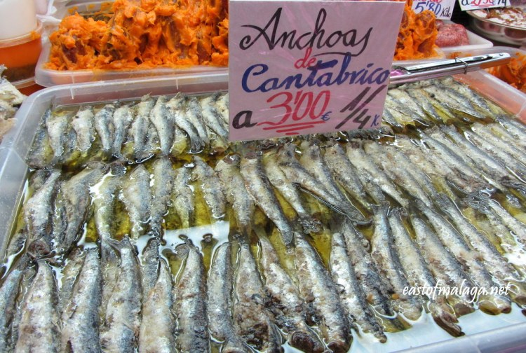 Anchovies in vinegar in Atarazanas Market, Málaga