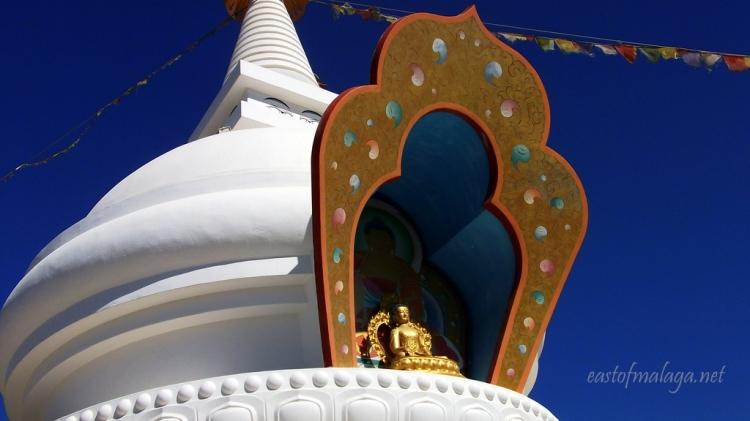The Golden Buddah statue at the Stupa at Vélez-Málaga, Spain