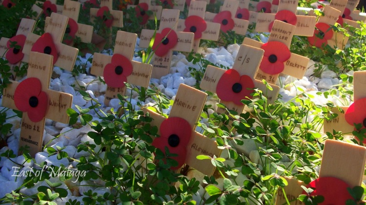 Poppies adorn wooden crosses in The English Cemetery, Málaga, Spain