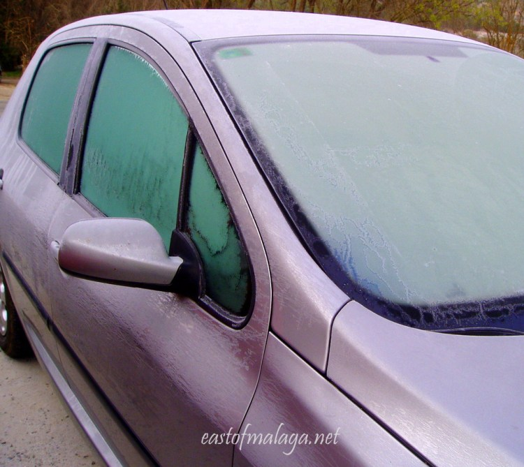 Ice on car windows in Spain