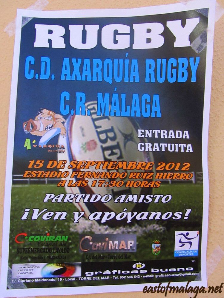 Poster advertising the match for Rugby Axarquia