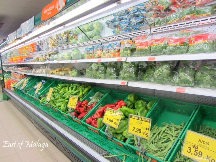 Fresh produce aisle in Spanish supermarket