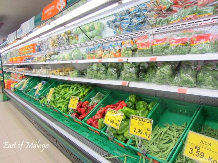 Fresh produce aisle in Spanish supermarket