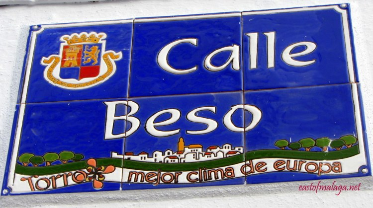 Street sign for Calle Beso, Torrox, Spain