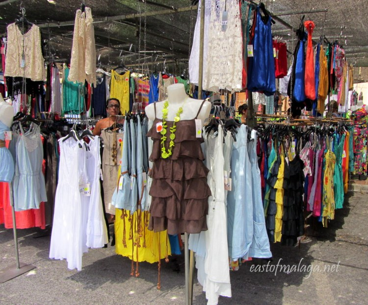 Lots of ladies clothing for sale at the Spanish streetmarket