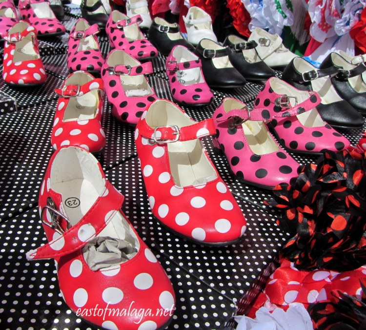 Girls flamenco shoes for sale at a Spanish streetmarket
