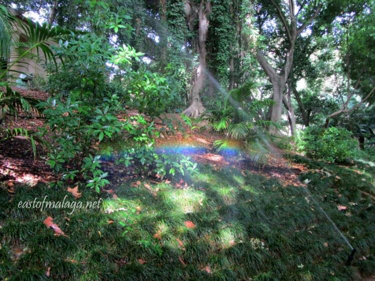 Garden sprinkler system at Jardin Concepcion, Malaga