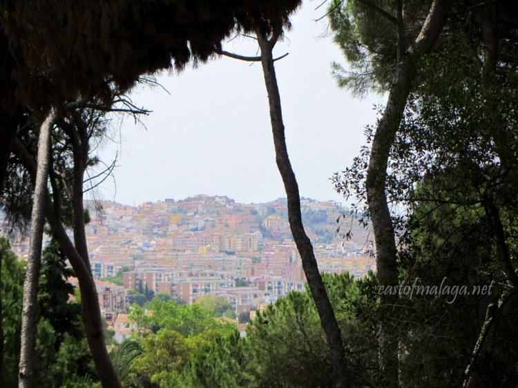View of Malaga city from Jardin Concepcion Botanical Gardens, Spain