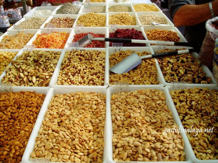 Nuts and dried fruits for sale at Spanish streetmarket