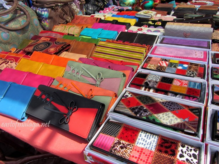 Colourful purses and handbags for sale at a Spanish streetmarket