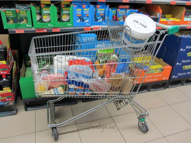Shopping trolley in Mercadona supermarket, Spain