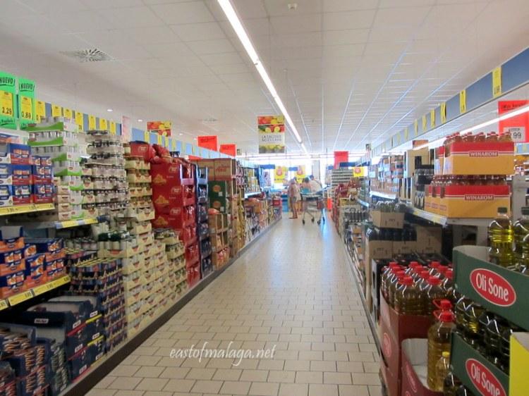 Inside of Lidl supermarket, Algorrobo, Spain