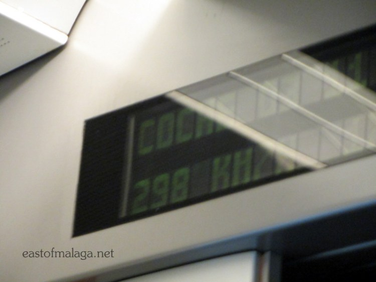298 kms per hour on the high speed AVE train in Spain