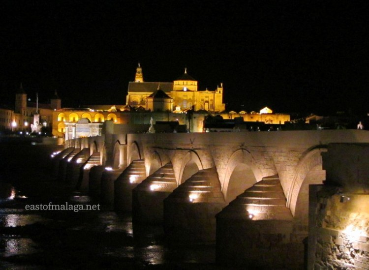 Roman bridge and Mezquita, Cordoba, Spain at night