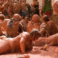 This year's Tomatina Festival at Buñol, Spain