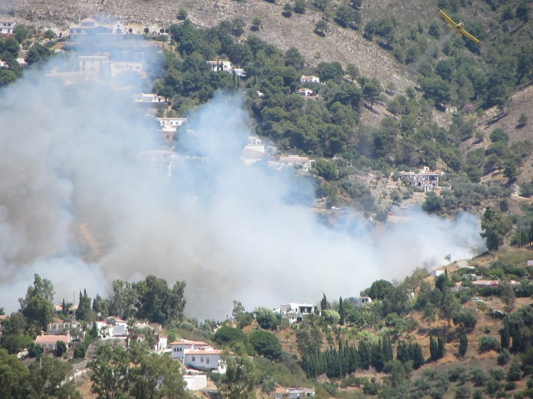 Fire in the campo, Competa, Spain