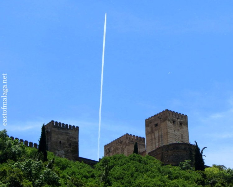 Jet trail over the Alhambra, Granada, Spain