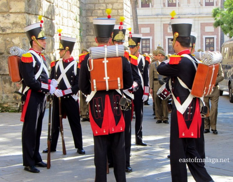 Soldiers wearing historical uniforms in Seville, Spain