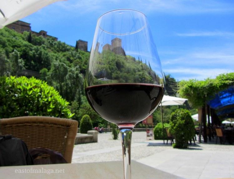 Glass of wine near the Alhambra, Granada