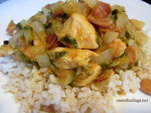 Moroccan chicken served with brown rice