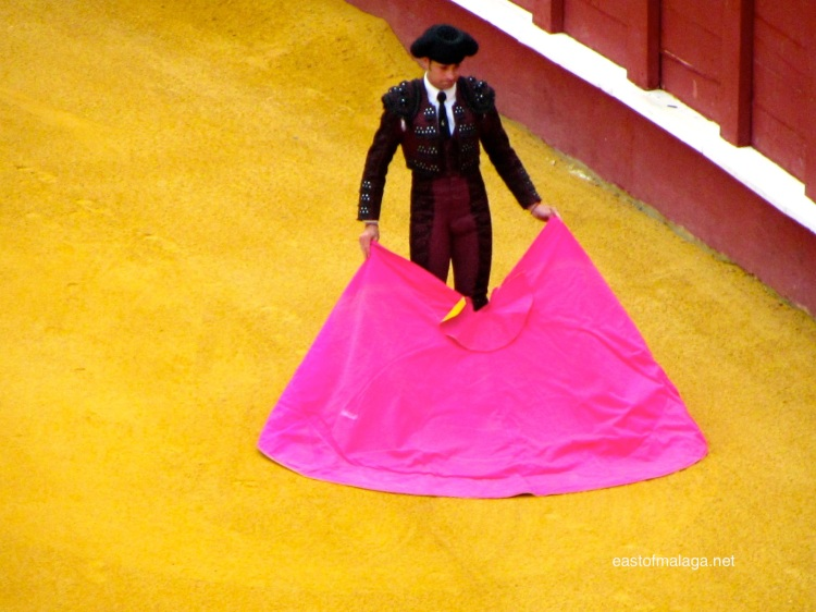 Pink cape of a bullfighter