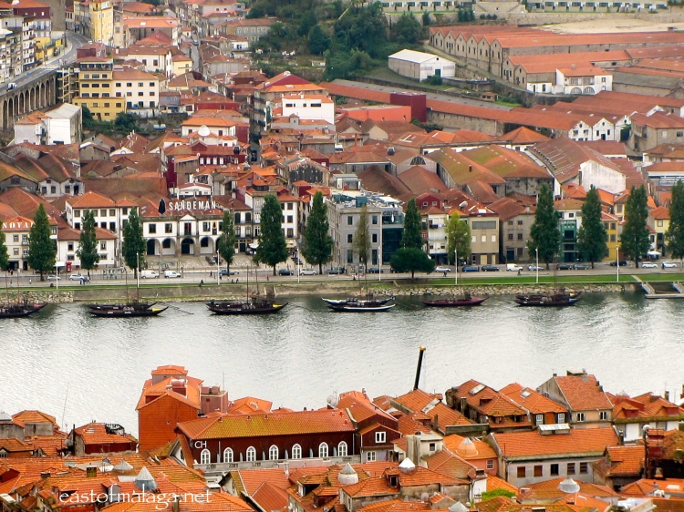 View of Sandeman's Bodega across the River Douro, Porto, Portugal