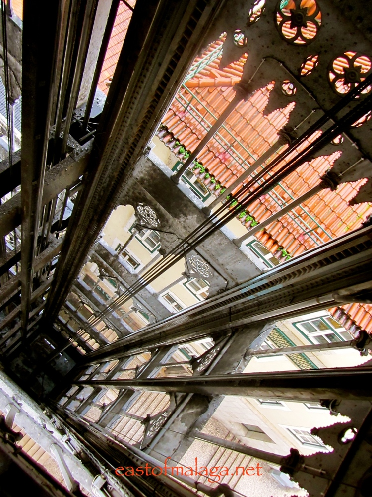 Looking down the shaft of Elevador Sao Justa, Lisbon