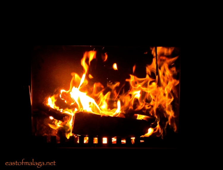 Roaring log fire