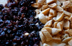 Chop a handful of currants and almonds