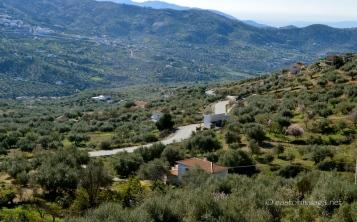 Looking back towards the coast from the road to Zafarraya, Spain