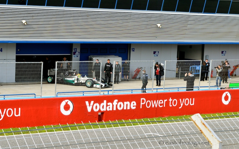 Lewis Hamilton emerges from his garage at Jerez