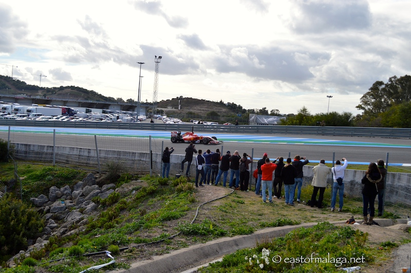 Ferrari on the first bend at Jerez