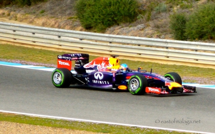 Sebastian Vettel in his Red Bull at Jerez, Spain