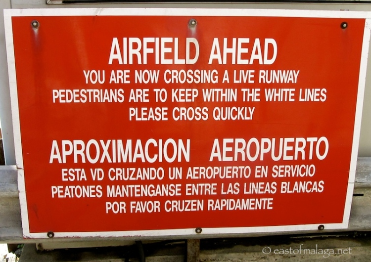 Airfield crossing sign, Gibraltar