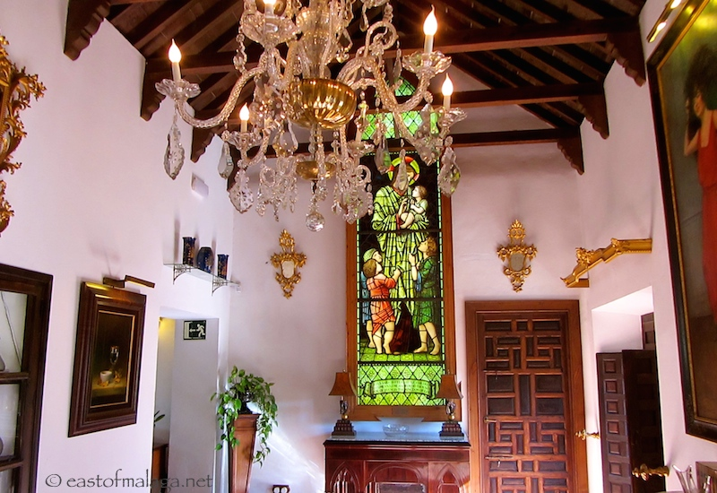 Antique furniture and stained glass
