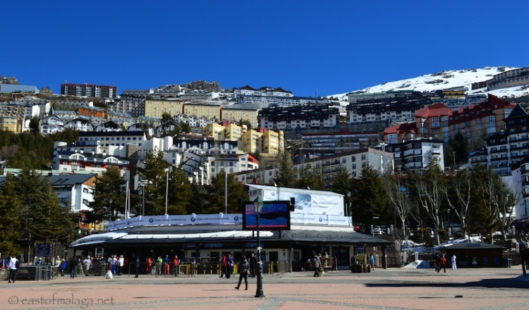 Square in the centre of Pradollano, Sierra Nevada ski village, Spain