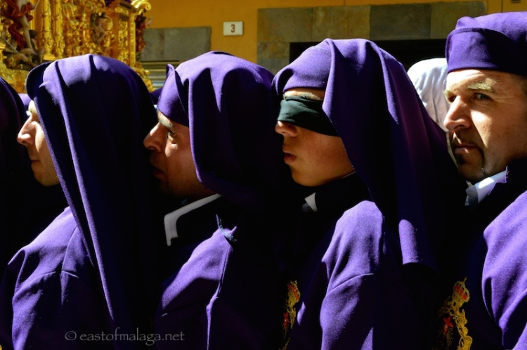 Blindfolded penitent, Semana Santa, Malaga, Spain